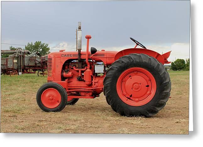 Orange Case Tractor Greeting Card