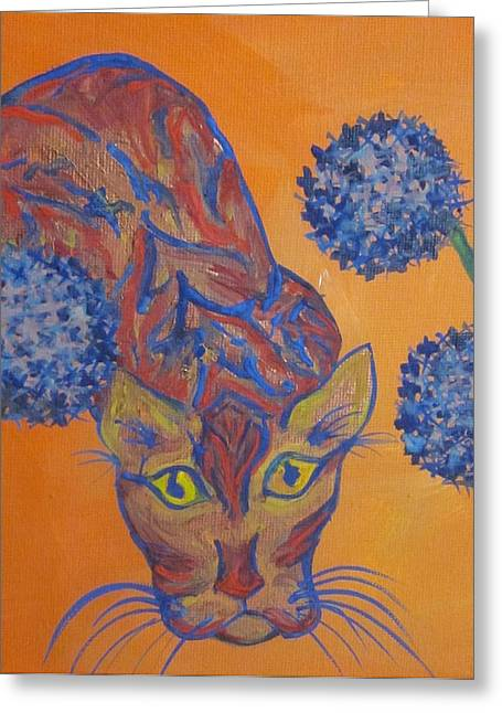 Orange Cat Greeting Card by Cherie Sexsmith