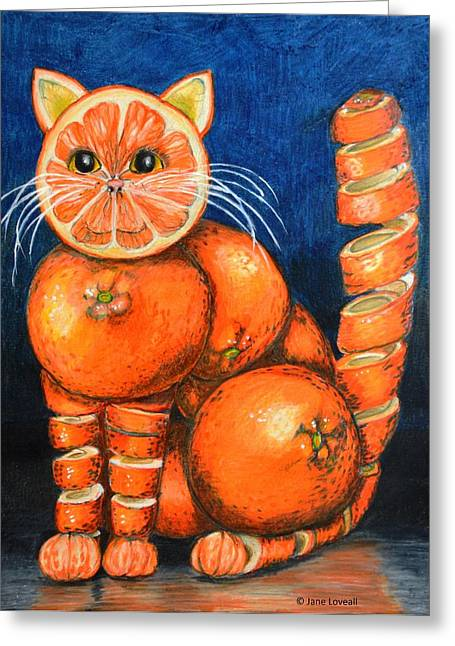 Orange Cat Greeting Card by Jane Loveall