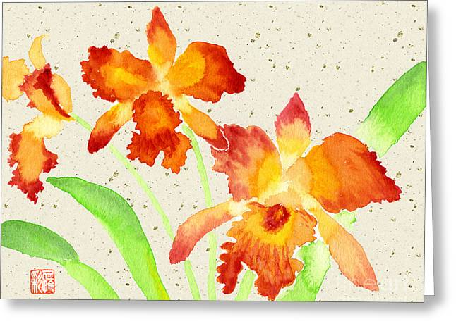 Orange Cattleya Orchids Watercolor Painting Greeting Card by Beverly Claire Kaiya