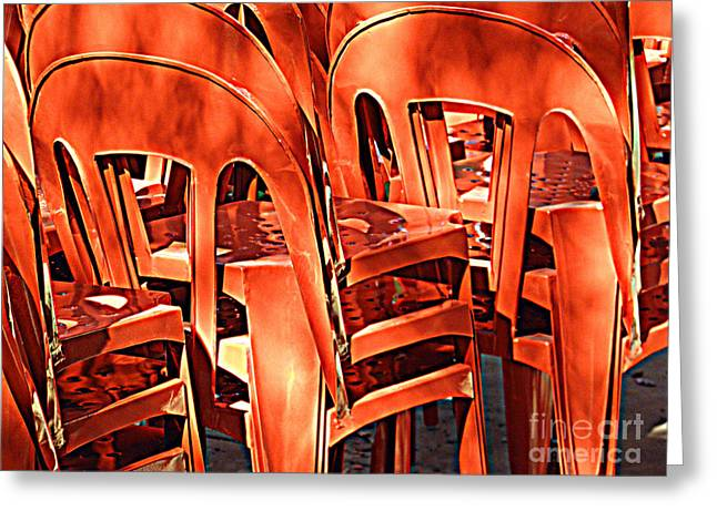 Greeting Card featuring the digital art Orange Chairs by Valerie Reeves