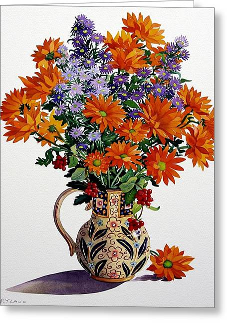Orange Chrysanthemums Greeting Card by Christopher Ryland