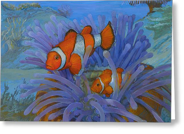 Orange Clownfish Greeting Card by ACE Coinage painting by Michael Rothman