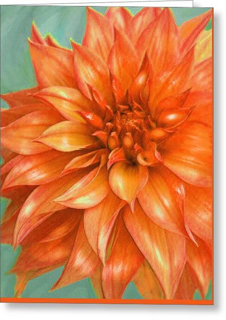 Greeting Card featuring the digital art Orange Dahlia by Jane Schnetlage
