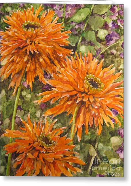 Orange Double Echinacea Greeting Card by Karen Olson