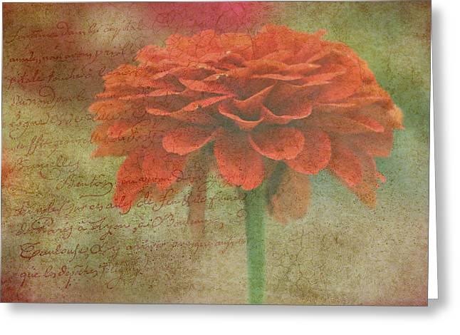 Orange Floral Fantasy Greeting Card by Kay Novy