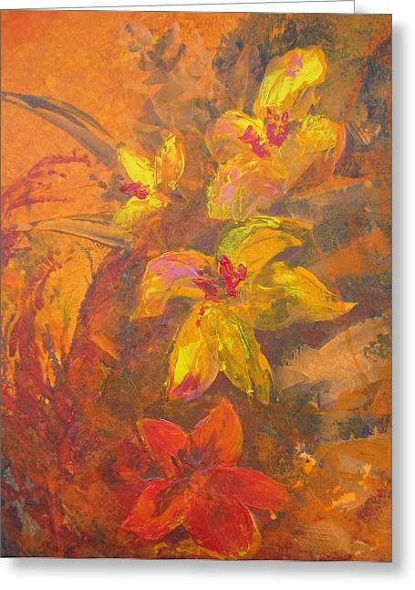 Orange Floral  Greeting Card