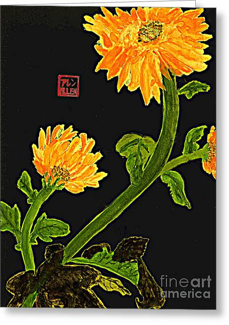 Orange Flowers  Chinese Watercolor Art Greeting Card by Merton Allen