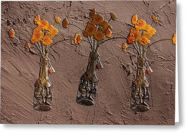 Orange Flowers Embedded In Adobe Greeting Card by Don Gradner