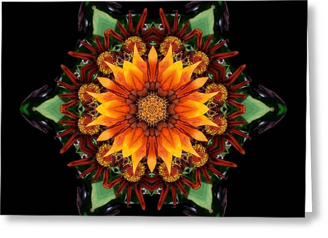 Greeting Card featuring the photograph Orange Gazania IIi Flower Mandala by David J Bookbinder