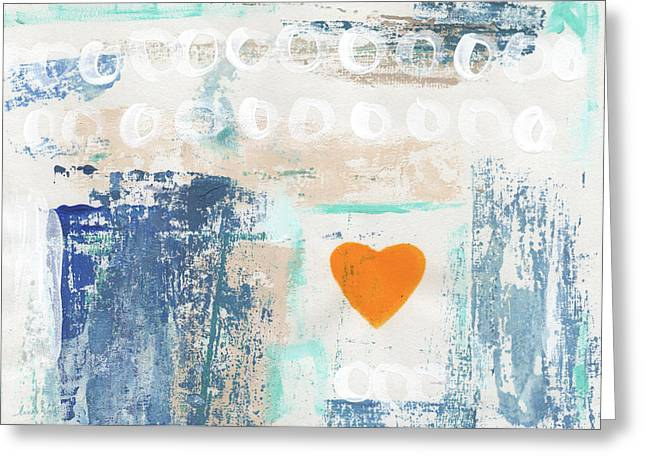 Orange Heart- Abstract Painting Greeting Card by Linda Woods