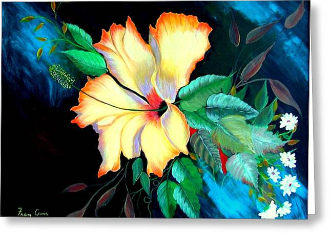 Greeting Card featuring the painting Orange Hibiscus by Fram Cama