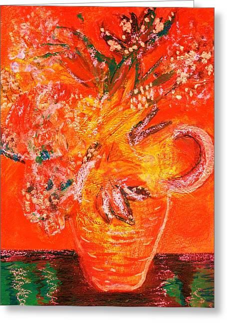 Orange Impressionistic Vase Of Flowers Greeting Card by Anne-Elizabeth Whiteway
