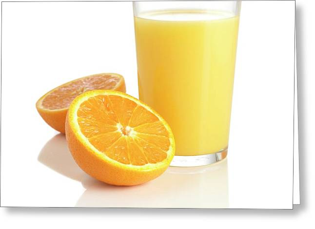 Orange Juice And Fresh Orange Greeting Card by Science Photo Library