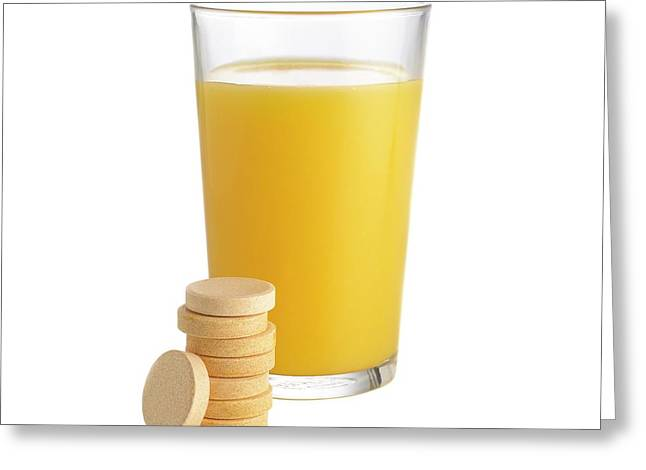 Orange Juice And Vitamin C Tablets Greeting Card by Science Photo Library
