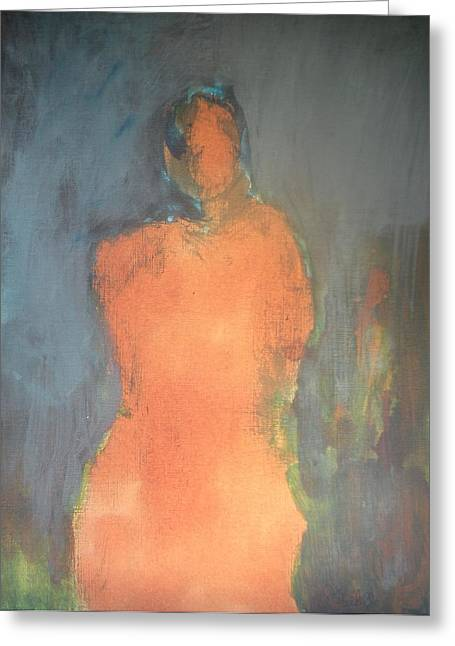 Orange Lady Greeting Card by Andrea Friedell