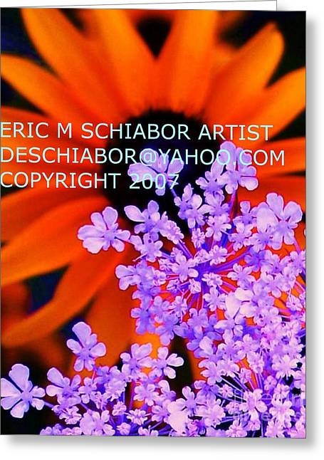 Orange Lavender Flower Greeting Card by Eric  Schiabor