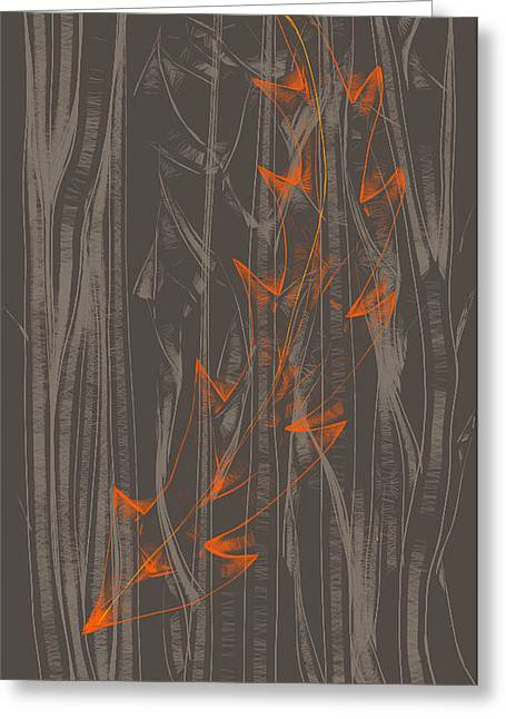 Orange Leaf Greeting Card by Lori Ulatowski