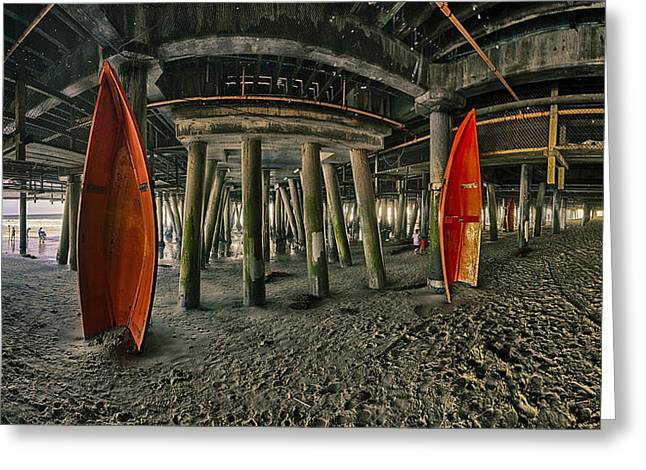 Orange Life Boats Under The Santa Monica Pier Greeting Card