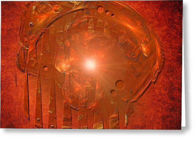 Greeting Card featuring the digital art Orange Light by Alexa Szlavics
