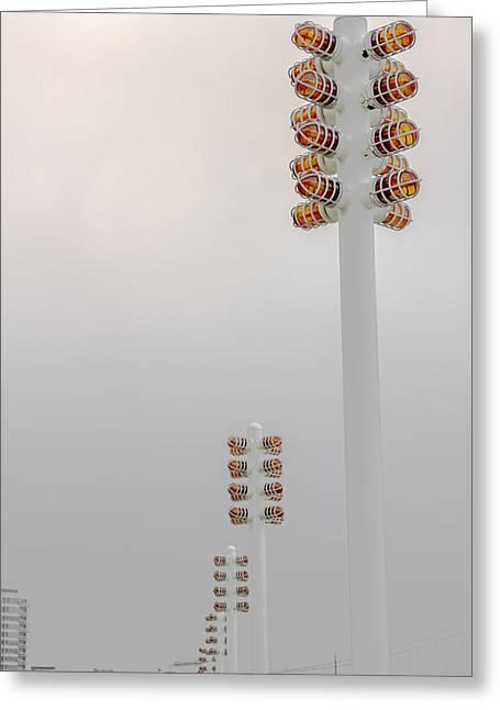 Orange Lights And Fog Greeting Card by Studio Janney