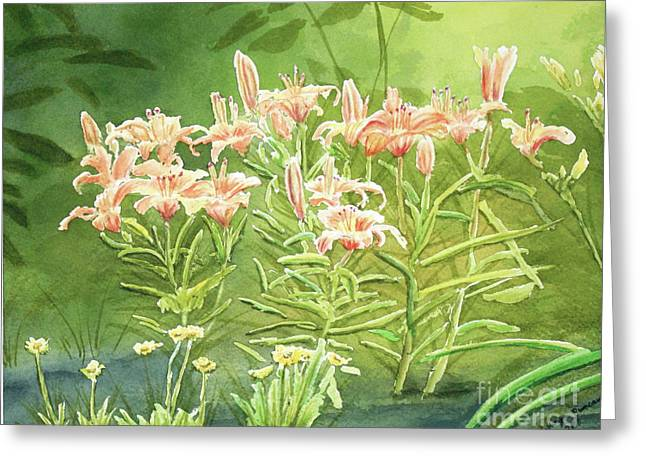 Orange Lillies In Morning Greeting Card by Kathryn Duncan