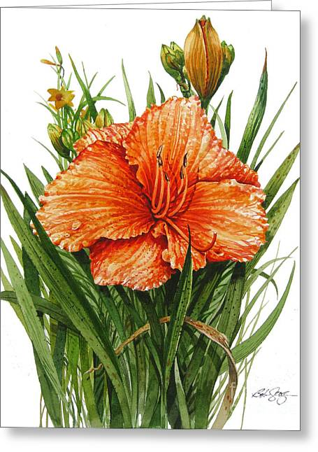 Greeting Card featuring the painting Orange Lily by Bob  George