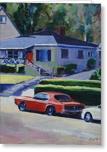 Orange Mustang Greeting Card