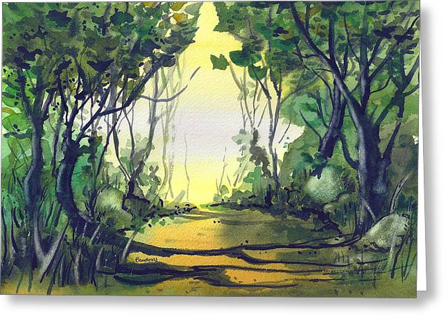 Greeting Card featuring the painting Orange Path by Terry Banderas