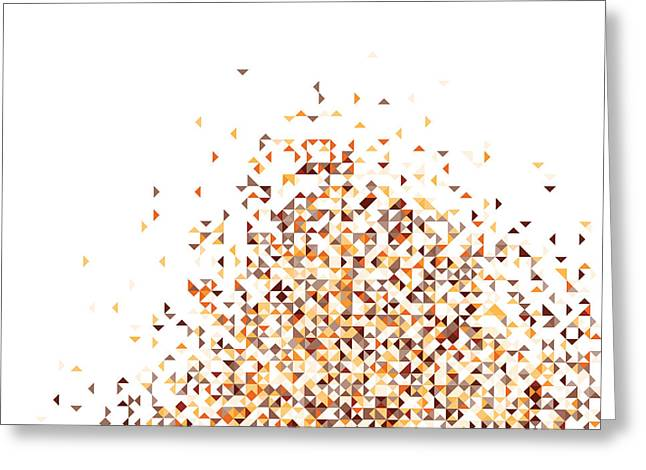 Orange Pixels Greeting Card