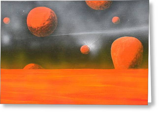 Greeting Card featuring the painting Orange Planet by Tim Mullaney