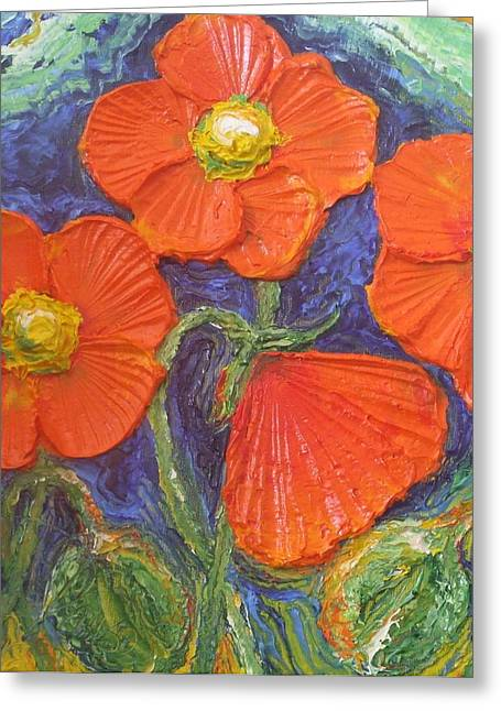 Orange poppies painting by paris wyatt llanso for Paris orange card