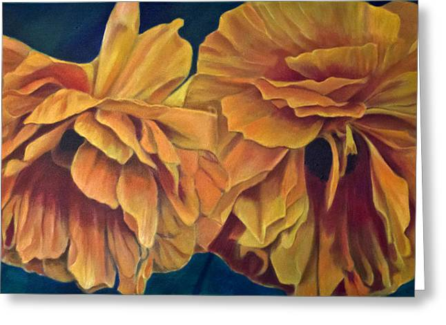 Greeting Card featuring the painting Orange Poppies by Ron Richard Baviello