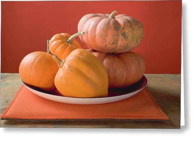 Orange Pumpkins On Plate Greeting Card