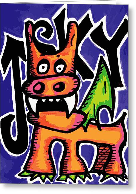 Orange Puppydragon Greeting Card by Jera Sky