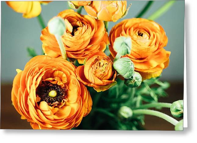 Orange Ranunculus Bouquet Greeting Card by Nastasia Cook