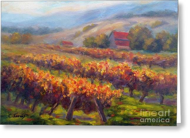 Orange Red Vines Greeting Card by Carolyn Jarvis