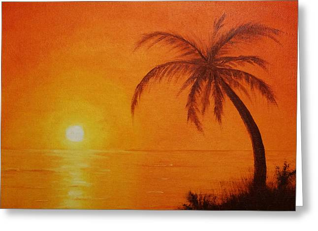 Greeting Card featuring the painting Orange Reflections by Arlene Sundby