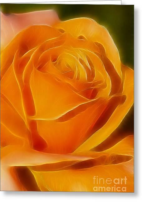 Orange Rose 6291-fractal Greeting Card by Gary Gingrich Galleries
