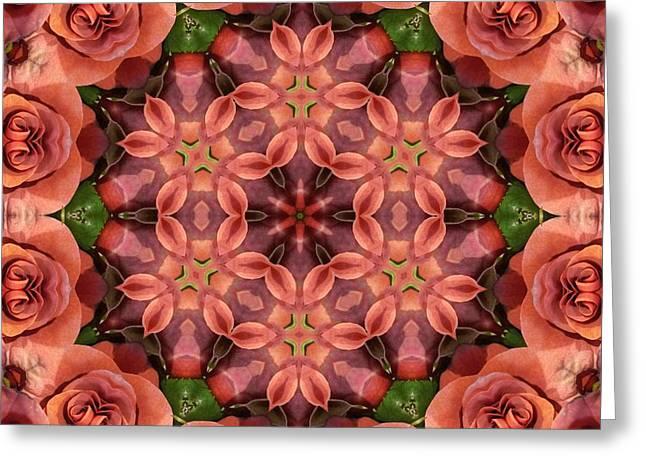 Orange Rose Mandala Greeting Card