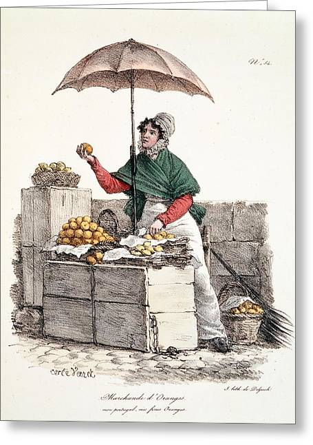 Orange Seller, Print Made By Delpech Greeting Card by Carle Vernet