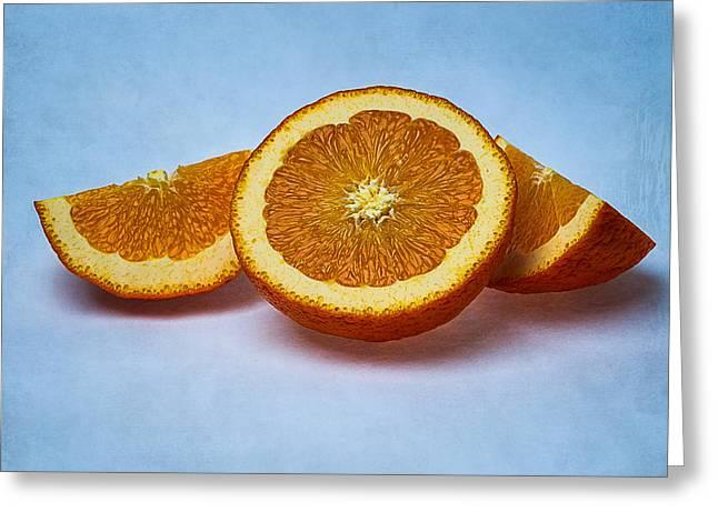Orange Sliced Greeting Card by Alexander Senin