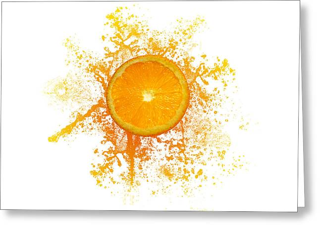 Orange Splash Greeting Card by Aged Pixel