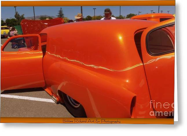 Orange Splash Panel Greeting Card by Bobbee Rickard