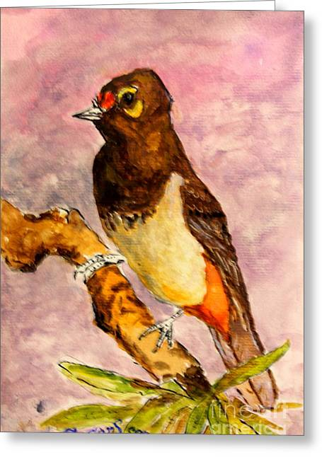 Greeting Card featuring the painting Orange-spotted Bulbul by Jason Sentuf