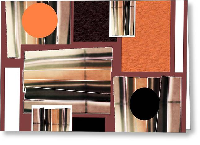 Orange Stacked Up Greeting Card by Ann Calvo