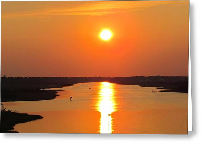 Greeting Card featuring the photograph Orange Sunset by Cynthia Guinn