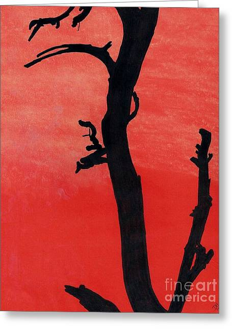 Greeting Card featuring the drawing Orange Sunset Silhouette Tree by D Hackett
