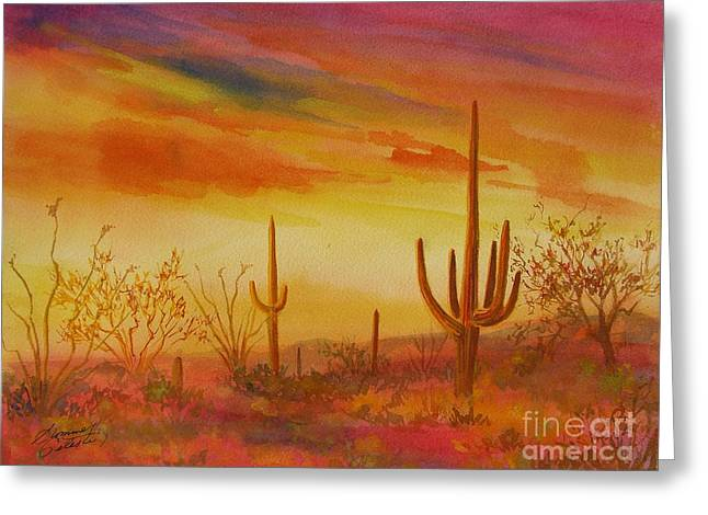 Orange Sunset Greeting Card by Summer Celeste