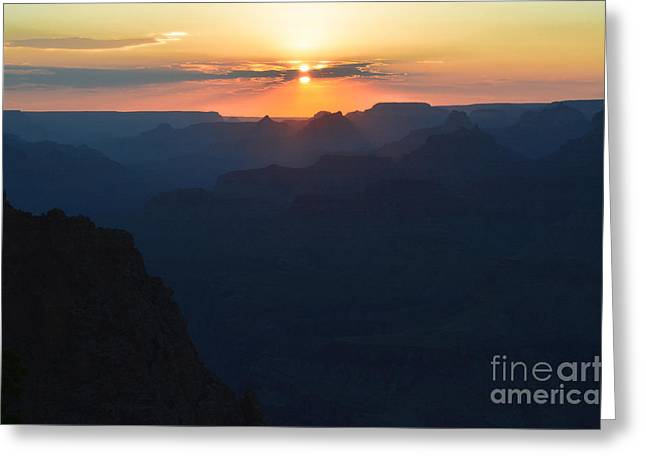 Orange Sunset Twilight Over Silhouetted Spires In Grand Canyon National Park Diffuse Glow Greeting Card by Shawn O'Brien